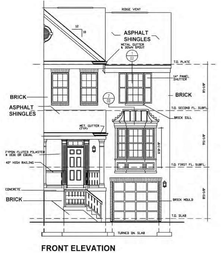Blueprint the meaning of symbols construction 53 figure 86 drawing of a part elevation of a townhouse showing the use of notes for the brick on the facade and asphalt roof shingles rather than partial malvernweather Choice Image