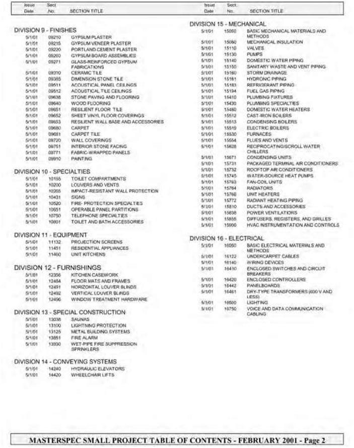 MASTERFORMAT 16 DIVISIONS PDF DOWNLOAD