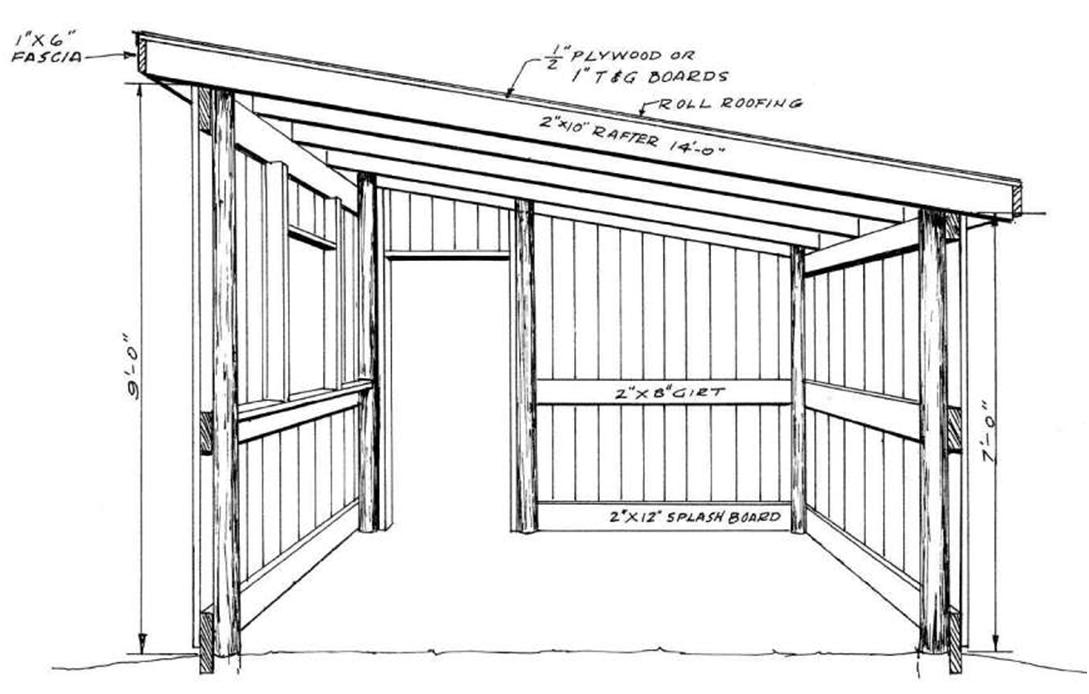 pole barn with shed roof plans